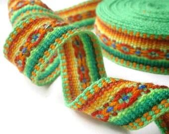 "green ribbon jacquard trim craft ribbon bohemian fabric ribbon 5.0 m/5.46 yd x 25mm/1"""