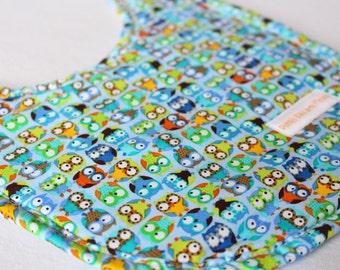 Handmade Baby Bib Mini Blue Owls