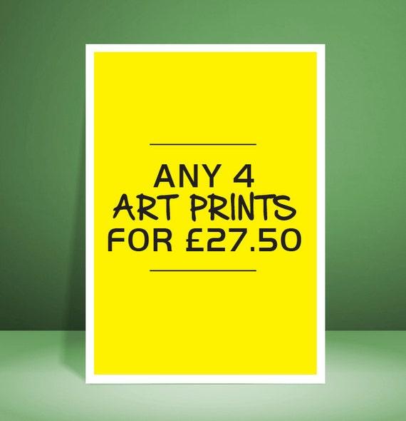 Any 4 Art Prints for 27.50 GBP // Art Prints // Unique Art // Home Decor Art