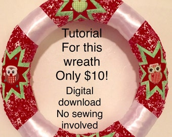 """12"""" """"Quilted"""" appearance wreath TUTORIAL- NO sewing involved."""