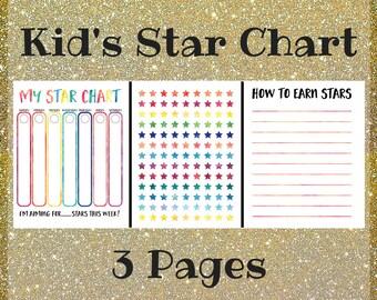 Kid's Chore Chart - Printable Star Chart For Kids - Behavior Chart - Reward Chart - Reward Stickers - Potty Training Chart for Children