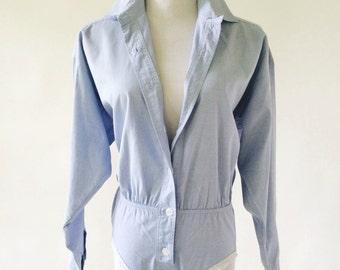 Oxford Shirt Bodysuit by DKNY, Vintage