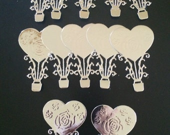 12 x Beautiful little silver heart hot air balloon die cuts perfect for wedding projects