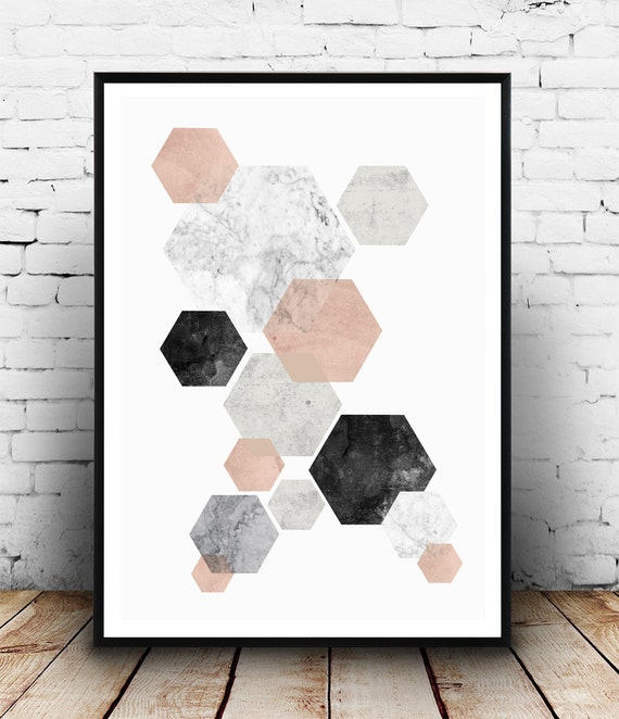Abstract watercolor pink gray print marble print nordic for Home decor minimalist modern