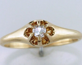 Vintage Antique Diamond 14K Yellow Gold Victorian Engagement Ring