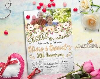 Surprise Anniversary Invitations / Digital Printable Invite / DIY Party