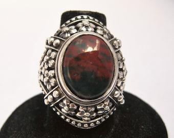Bloodstone (Heliotrope) (16x12mm) Jasper Stone Cabochon Gemstone Sterling Silver Ring Size 8, No. 1441