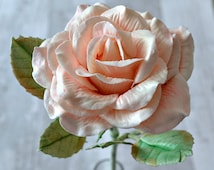 Flower gift for her, Shabby chic roses, Everlasting clay flowers, Life size rose, Artificial flower bloom, Fake flowers, Birthday gift