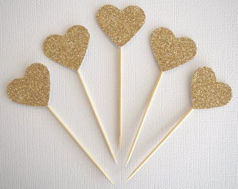 Set of 12 mini gold glitter heart cupcake toppers || wedding engagement party baby shower birthday party christening baptism