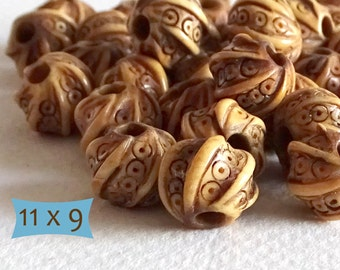 Fancy Spiral Pattern Bone Beads--5 Pcs | DBN132-5