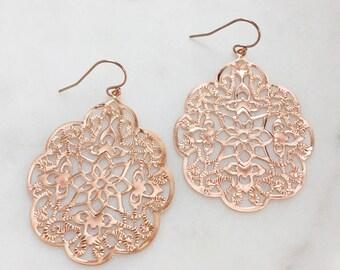 LOLA | Rose Gold Earrings | Rose Gold Dangle Earrings | Rose Gold Moroccan Earrings | Rose Gold Dangly Earrings | Light Weight Earrings