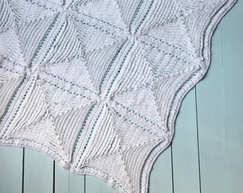 Traditional Christening Baby Blanket CROCHET PATTERN, Old Fashioned & White Baby Blanket Pattern, Newborn Blanket, Receiving Crochet Blanket
