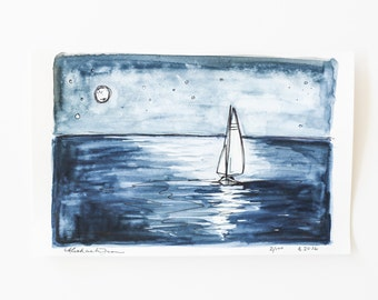 small sailboat sketch on paper