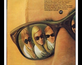 "Vintage Print Ad June 1968 : Ray-Bans Sunglasses for Girls Wall Art Decor 8.5"" x 11"" Advertisement"
