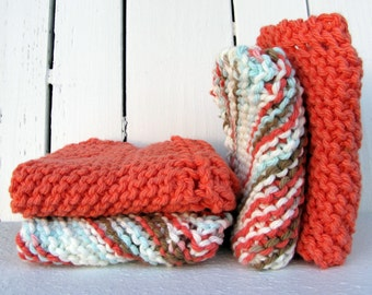 Cotton Hand Knit Dish Cloth/Wash Cloth Set of 4, 2 Coral and 2 Multi Colored Green Blue White Coral Towels, Women's Gift, Hostess Gift