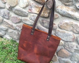 Two Tone Leather Tote Bag, Leather Bag, Leather Purse
