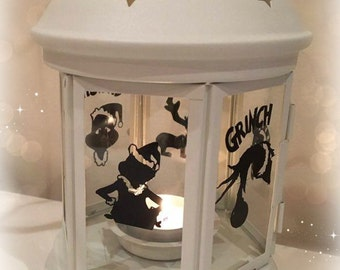 The Grinch Inspired Lantern, Tea light Holder,  Lantern, Candle Glow Gift set