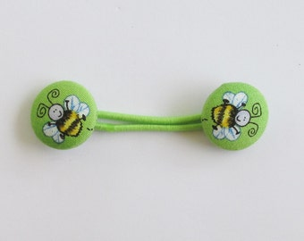 Lime Green Bumblebee Ponytail Band, Fabric Button Hair Band, Elastic Hair Tie, Elastic Band Ponytail Holder, Hair Accessory, EclectiKIDS