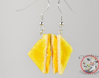 Grilled Cheese / Cheese Toasty Earrings Miniature Food Jewelry