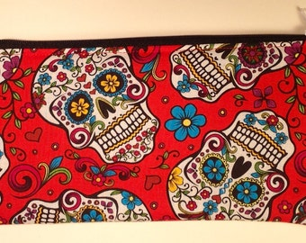 Handmade cotton pencil case / makeup bag - red sugar skulls / day of the dead