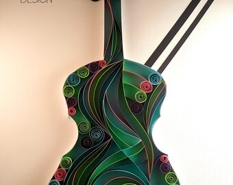 Colorful Violins//Violins//Musical Instruments//Violin Bows//Quilled Violins//Keepsake Gift//Canvas Art//Musician Gifts