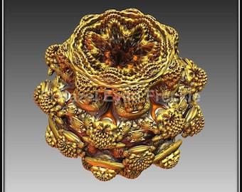 Gold Fractal Art, Printable, Metallic Print, Fractal Design, Gold Abstract Print, Metallic Wall Art, 3D Fractal Design, Download, Abstract