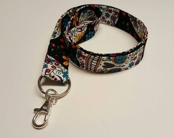 Sugar Skull Lanyard • Key Chain! 20 inch length. Work • School • Play • Craft Shows • Comicons!