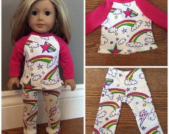 "18"" doll clothes- rainbow 2 piece doll Pajama set."