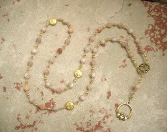 Aengus (Oengus, Angus Og) Prayer Beads in Sunstone: Irish Celtic God of Youth and Love