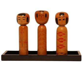 japanese kokeshi, vintage kokeshi,japanese wooden doll set,figurines,signed kokeshi,medium size kokeshi,kokeshi,set of 3,home decor,dolls