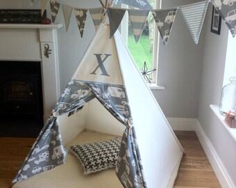 Monogram teepee / large tepee/ tipi play tent
