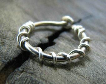 conch piercing, conch hoop earring, 16g cartilage earring, sterling silver body piercing, single hoop earring