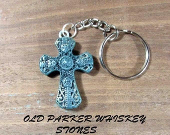 Cross Keychain. Fancy Cross Keychain. Turques Cross. Turques Cross Keychain.