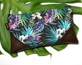 Large Jungle Orchids & Palms Zipper Clutch / Zip Pouch with Zipper Pull or Leather Wristlet Strap