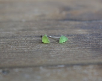 Pacific || Raw || Muted Lime sea glass studs