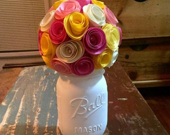 Spring Flower Rose Bouquet - In A Hand Painted Cream Mason Jar (pint)!