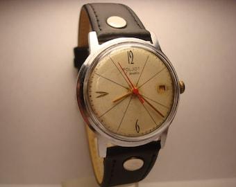 Poljot  mens wrist watch Calendar 17 Jewels I MChZ Original USSR RARE Serviced & oiled