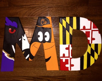 Maryland Pride MD Wooden Initial with Baltimore Ravens and Orioles bird mash up M and Maryland Flag D