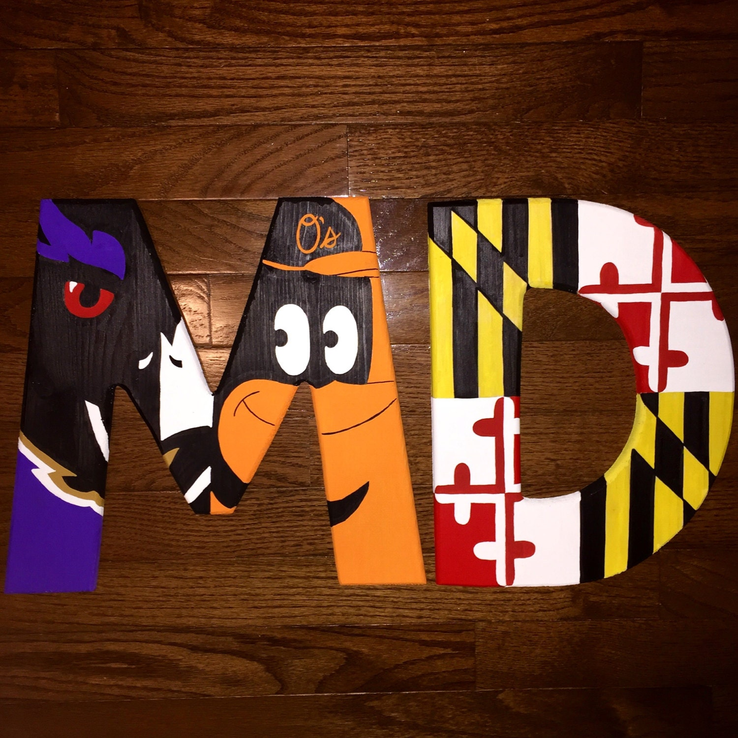 maryland pride md wooden initial with baltimore ravens and