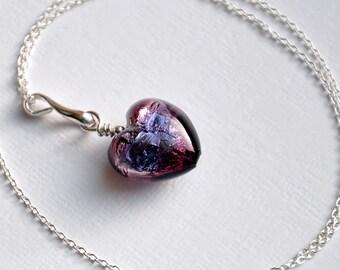 Murano Glass Purple Heart 'Onda Viola' Necklace, Sterling Silver
