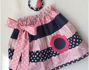 Little Miss...Polkadot, stripe and flower twirl skirt with hair bow