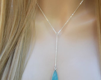 Silver Y Necklace, Silver Y Necklace with Aqua Blue Chalcedony, Silver Lariat Necklace, Y Silver Necklace, Silver Y Necklace with Gemstone