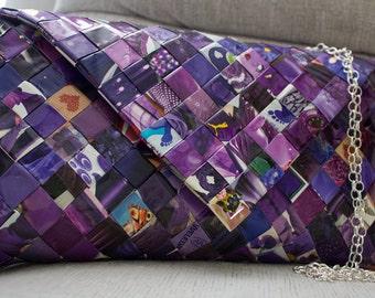 Original Handmade Envelope bag // Eco friendly clutch bag // Crossbody bag - Violet