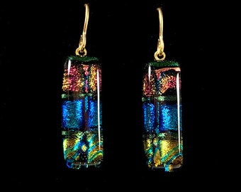 Dichroic Glass Rectangle Earrings on French Wire Pink, Blue, Yellow