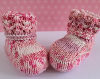 Pink Booties,Fairisle Booties,Colorful Crib Shoes,Pretty Booties,Baby Girl Booties,Hand Knit Booties,Cute Baby Shoes, Baby Slippers