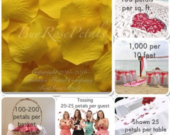 Yellow Rose Petals - 1,000 Silk Rose Petals Value Pack