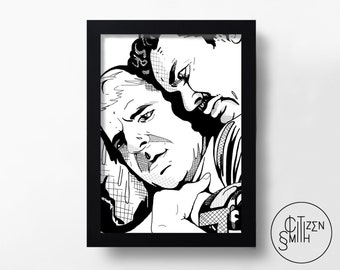 PLANES, TRAINS & AUTOMOBILES - John Hughes - Steve Martin, John Candy - Hand-Drawn Film Art Print/ Movie Poster