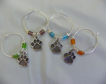 Set of 4 Paw Print Wine Glass Charms