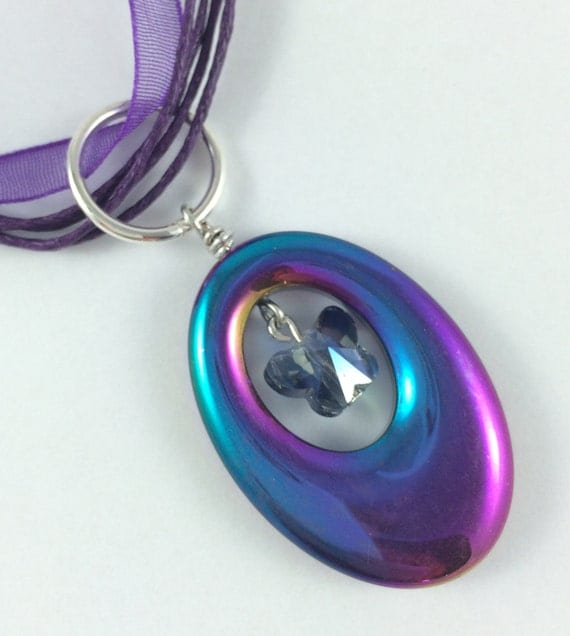 Non-Magnetic Hematite Pendant. Purple and green. Organza Voile. Cotton Cord Necklace.