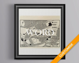 Vintage map of Bangor, Wales (genuine 1953 antique) handcut with custom personalized words